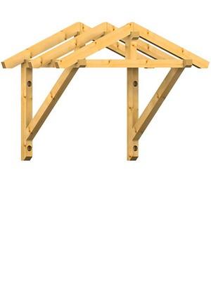 Holzvordach in Satteldachausführung mit 22° Dachneigung