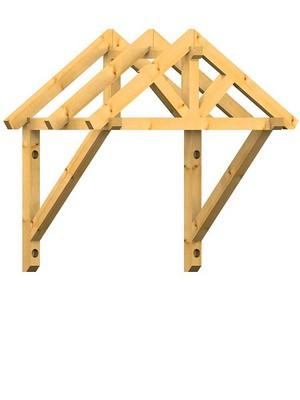Holzvordach in Satteldachausführung 22° DN
