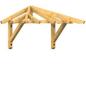 Holzvordach in Walmdachausführung 22°