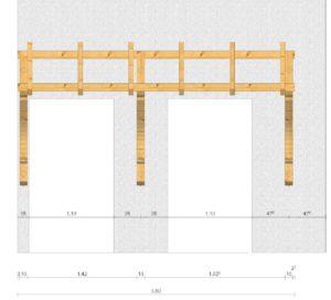 breites Holzvordach fuer zwei Haustueren Vorderansicht