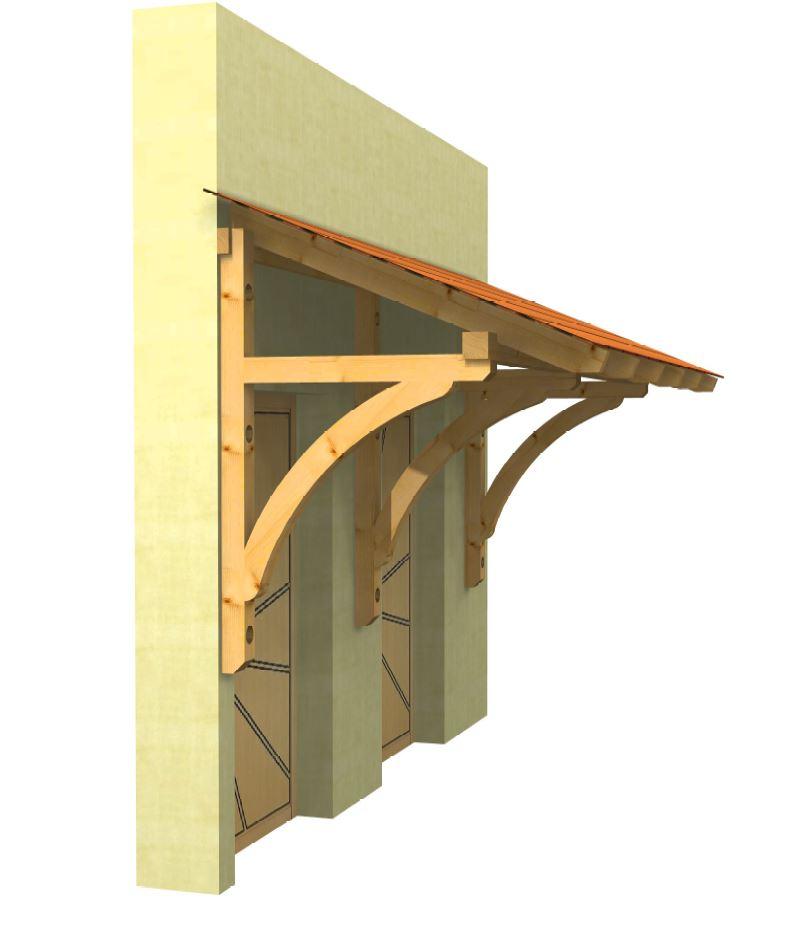breites Holzvordach fuer zwei Haustueren