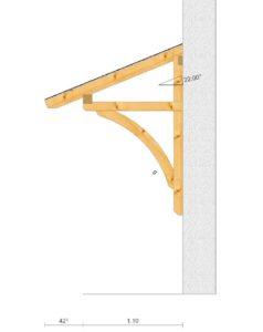 breites Holzvordach fuer zwei Haustueren Seitenansicht