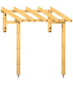Vordach Westerwand mit gekürztem Wandholz